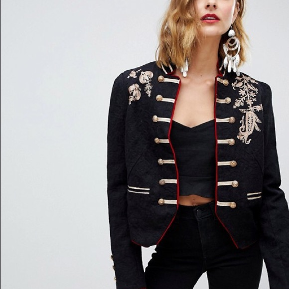 Free People Jackets & Blazers - Free People Lauren Embroidered  Band Jacket